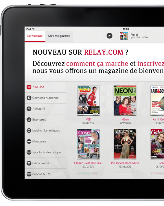 application iPad Le kiosque Relay.com